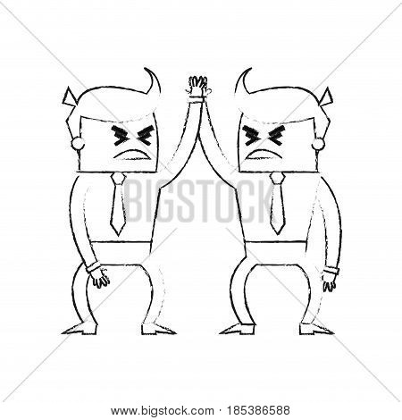 blurred silhouette image cartoon business men in discussion vector illustration