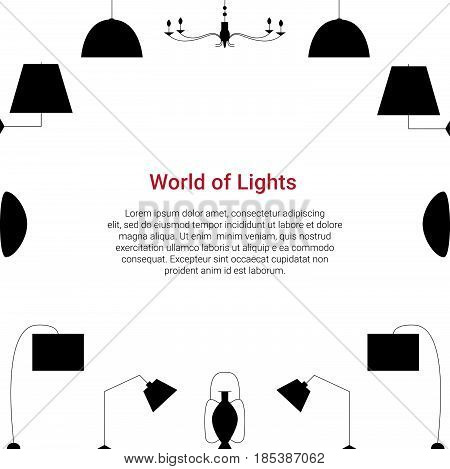 World Of Lights Colorful Concept. Lamp Line Icons On A White Background.