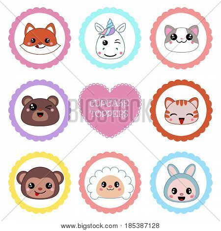 Cupcake toppers for Birthday. Collection of cute animal faces.