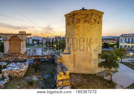 ATHENS, GREECE - MAY 2, 2017: Tower of Winds and remains of Roman Agora in the old town of Athens, Greece on May 02 2017.
