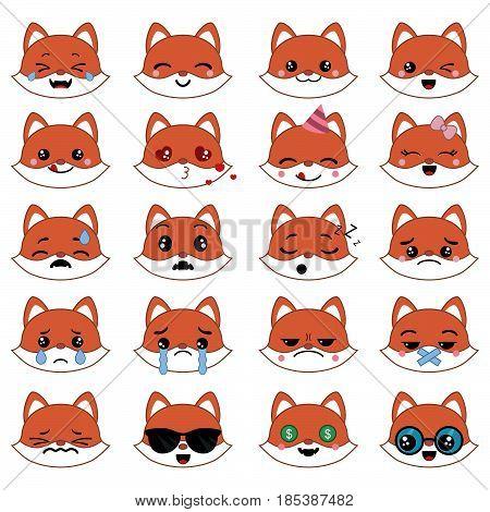 Set of cute fox emoticons. Smile icon set.