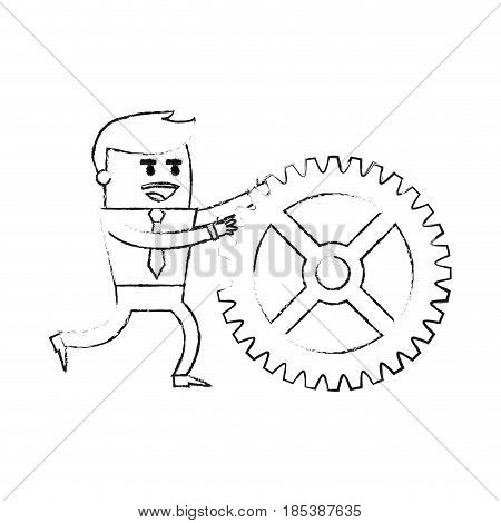 blurred silhouette image cartoon business man pushing a gear vector illustration