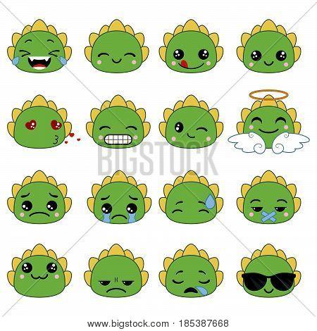 Set of cute dragon emoticons. Smile icon set.