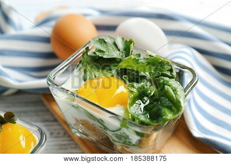 Portion of eggs Florentine, close up