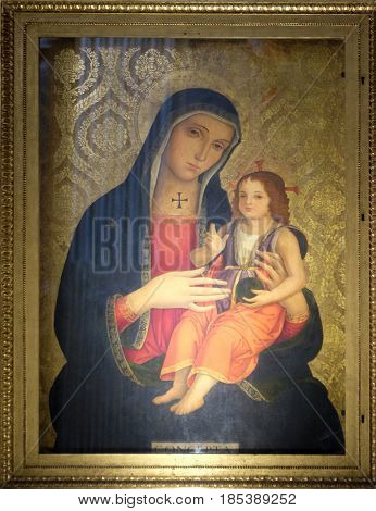 ROME, ITALY - SEPTEMBER 03: The Madonna by Antoniazzo Romano (late 15. cent.) in church dei Santi XII Apostoli in Rome, Italy on September 03, 2016.