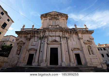 DUBROVNIK, CROATIA - NOVEMBER 07: Assumption of the Virgin Mary cathedral in the Old Town of Dubrovnik on November 07, 2016.