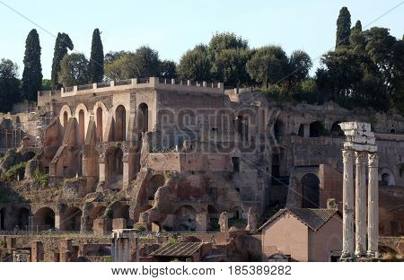 ROME, ITALY - SEPTEMBER 04: Ancient Roman Forum and the three columns of Temple of Castor and Pollux, UNESCO World Heritage Site, Rome, Lazio, Italy  on September 04, 2016.