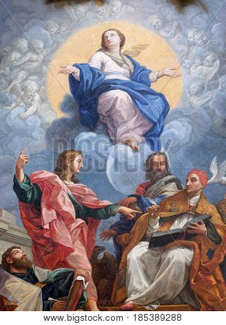 ROME - SEPTEMBER 03, 2016: The glorification of the Virgin Mary with St. John the Evangelist, Augustine, John Chrysostom and Gregory the Great, Basilica dei Santi Ambrogio e Carlo al Corso, Rome