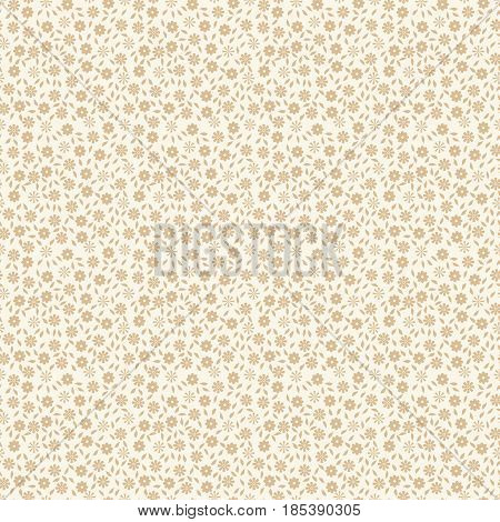 Ditsy vintage ornament. Simple delicate seamless pattern with small flowers and leaves. Vector illustration for print on textile fabric wallpapers papers. Millefleurs liberty style. Ecru color
