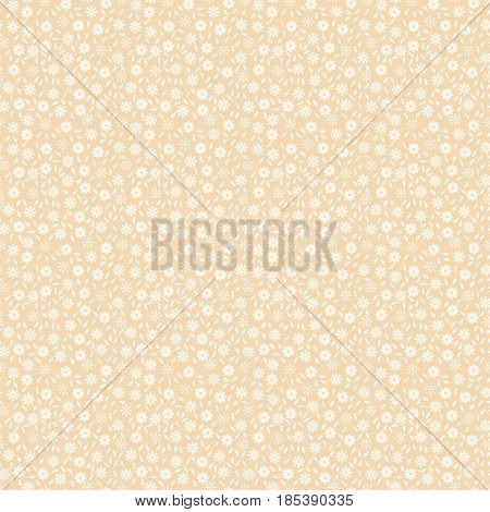 Simple nice seamless pattern with small flowers and leaves. Vector illustration for print on textile fabric wallpapers manufacturing. Millefleurs liberty style. Ditsy vintage ornament. Ecru color