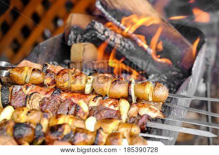 Preparing tasty kebab outdoors, closeup