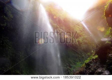 the photo under Madakaripura Falls in Indonesia