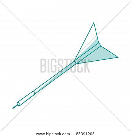 blue silhouette image side view dart with arrowhead vector illustration