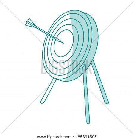blue silhouette image side view target in tripod with arrow vector illustration