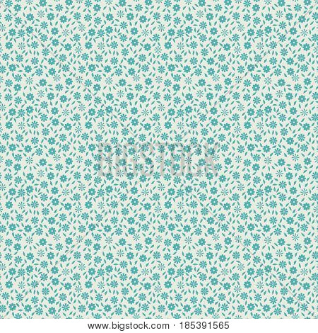 Simple cute seamless pattern with small flowers and leaves. Vector illustration for print on textile fabric wallpapers. Millefleurs liberty style. Ditsy vintage ornament. Ecru and blue color