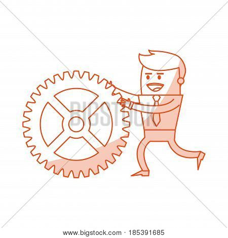 red silhouette image cartoon business man pushing a gear vector illustration