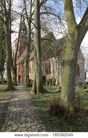 Church And Cemetery In Gross Kiesow, Mecklenburg-vorpommern, Germany