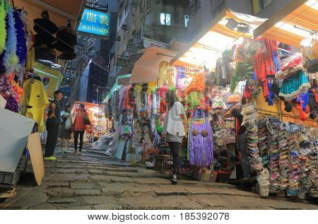 HONG KONG - NOVEMBER 8, 2016: Unidentified people visit Lan Kwai Fong night market. Lan Kwai Fong is a popular expatriate haunt in Hong Kong for drinking, clubbing and dining.
