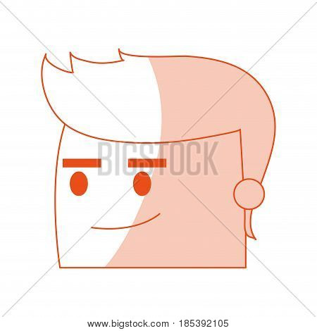 red silhouette image side view face cartoon guy with expression of satisfaction vector illustration