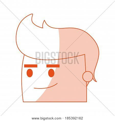 red silhouette image side view face cartoon man with expression of satisfaction vector illustration