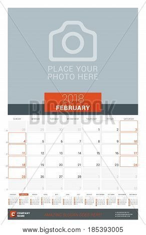 February 2018. Wall Monthly Calendar Planner For 2018 Year. Vector Design Print Template With Place