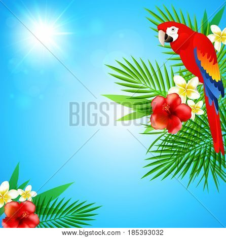 Blue summer background with tropical flowers green leaves and red parrot