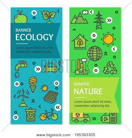 Ecology Flyer Banner Posters Card Vertical Set witch Outline Icons Protection Environment Save Resource. Vector illustration