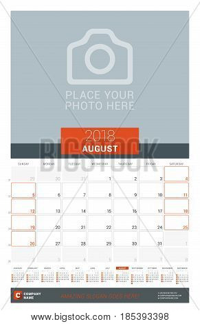 August 2018. Wall Monthly Calendar Planner For 2018 Year. Vector Design Print Template With Place Fo
