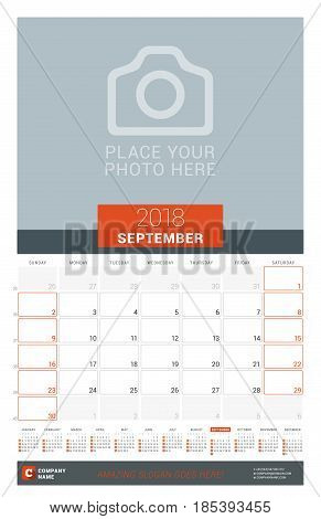 September 2018. Wall Monthly Calendar Planner For 2018 Year. Vector Design Print Template With Place
