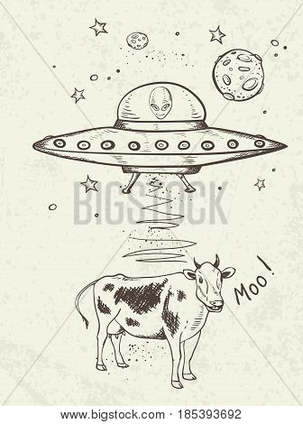 Fantastic doodle background with UFO abducts a cow. Hand drawn vector illustration.