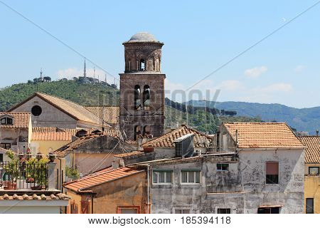 Bell tower of the Cathedral the main church in the city of Salerno Italy
