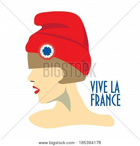 Minimalist greeting card design for The Bastille Day, French National Day. Text in French Long Life France. A girl with red hat known also as phrygian cap or liberty cap with tricolor cockade on.