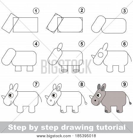 Kid game to develop drawing skill with easy gaming level for preschool kids, drawing educational tutorial for Rhino