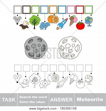 Educational puzzle game for kids. Find the hidden word Meteorite