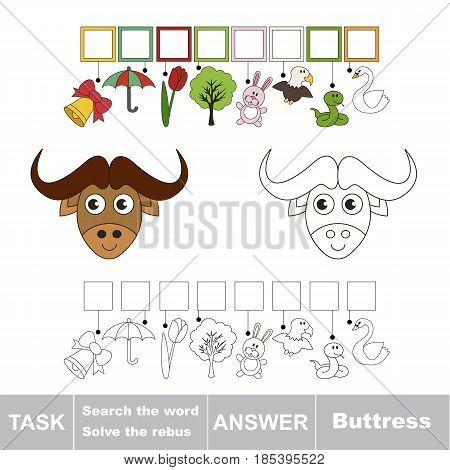 Educational puzzle game for kids. Find the hidden word Butress