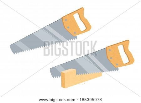 Sawing wooden plank saw. Repair tool. Joinery or carpentry instruments. Woodworking process vector illustration. Handmade with handsaw isolated on white.