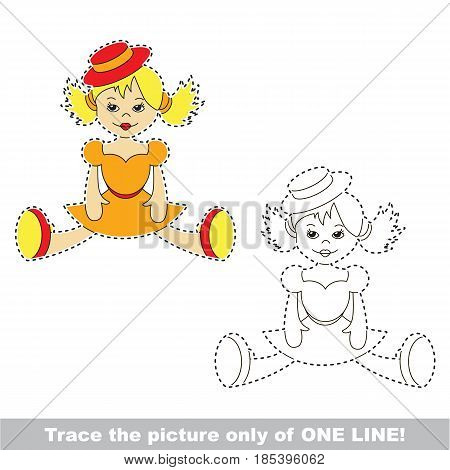 Doll. Dot to dot educational game for kids, trace only of one line.