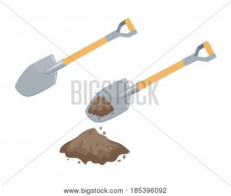 Dig with a spade. Garden or repair tool. Farm instruments. Hand work process vector illustration isolated on white.