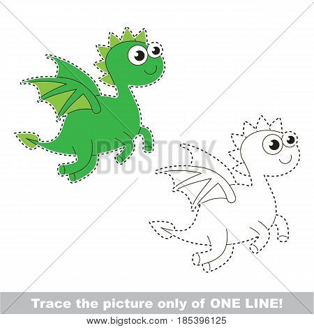 Dragon. Dot to dot educational game for kids, trace only of one line.
