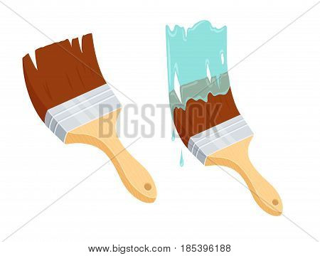 Brush painting wall. Repair tool. Painter instruments. Home work process vector illustration isolated on white.