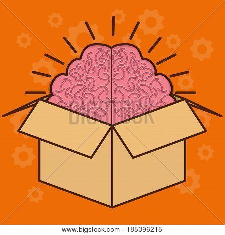 box with brain icon over orange background. colorful design. vector illustration