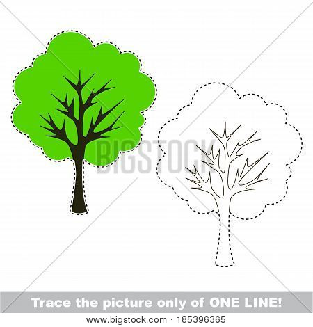 Tree. Dot to dot educational game for kids, trace only of one line.
