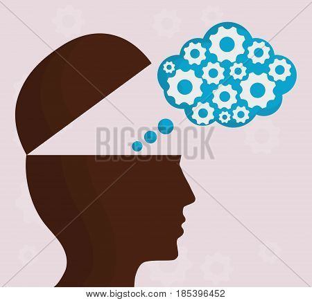 head with speech bubble and gears icon over purple background. colorful design. vector illustration