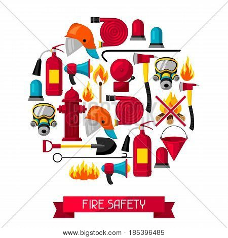 Background with firefighting items. Fire protection equipment.