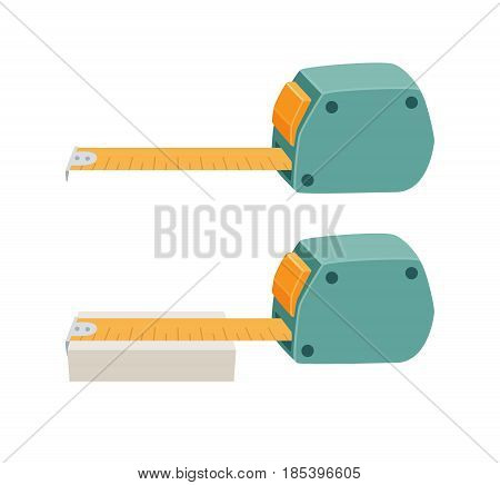 Measuring tape ruler. Measurement tool. Builder or repair instruments. Scaling process vector illustration isolated on white.
