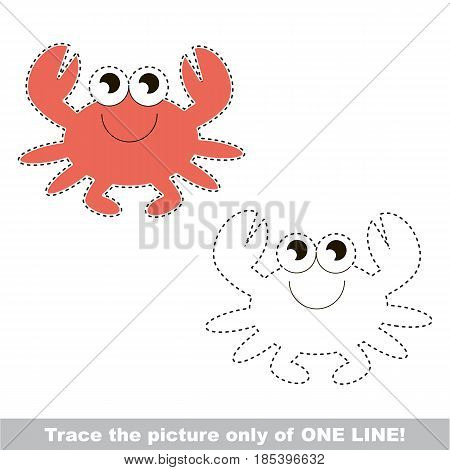 Crab. Dot to dot educational game for kids, trace only of one line.
