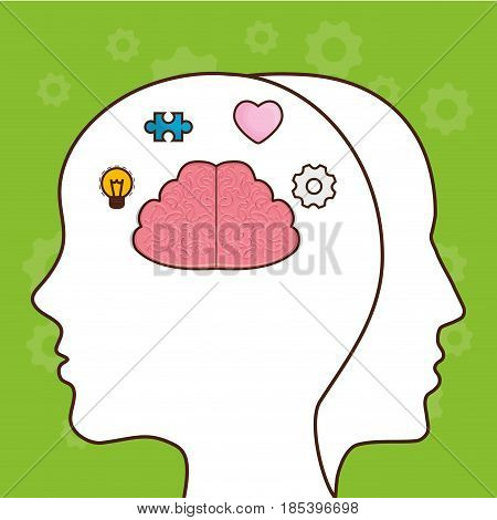 head with brain icon over green background. colorful design. vector illustration