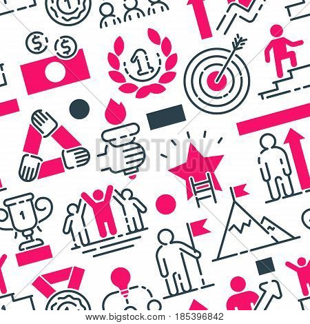 Startup project outline web busines icons set team building communications vector illustration. Marketing concept analysis process strategy seamless pattern