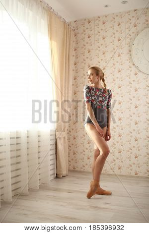 Portrait Of A Professional Ballerina In Sun Light In Home Interior. Ballet Concept. Looking To Windo