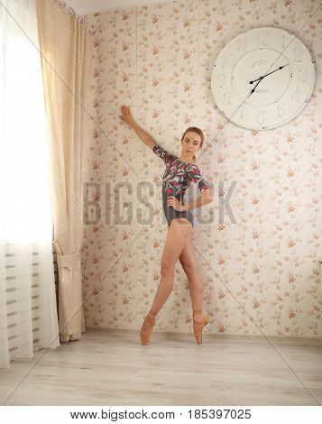 Portrait Of A Professional Ballerina On Tiptoe Near Window In Sun Light In Home Interior. Ballet Con
